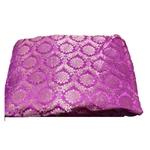 Rani Pink and Golden Floral Design Brocade Silk Fabric, Festival, (1 Meter) Full Jari Design