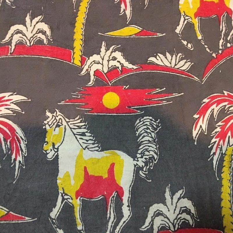 Cotton Kalamkari Handblock Saree BlouseKurti Fabric 100 cms - Horse Print - Black Colour