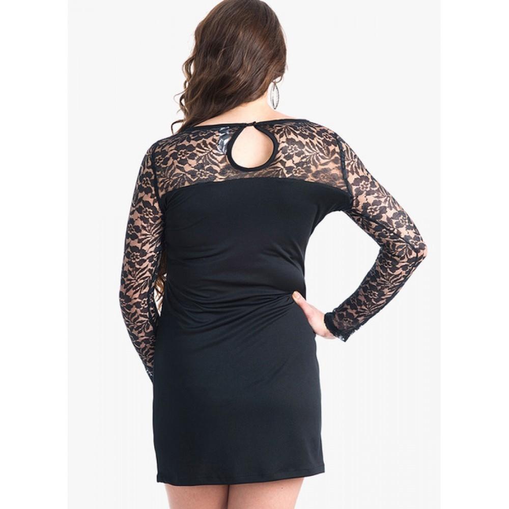 Lafacon-Black-Colored-Embroidered-Shift-Dress