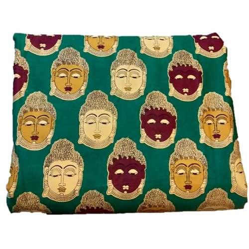 Rayon Kalamkari Handblock Saree BlouseKurti Fabric 100 cms - Green Budda Print