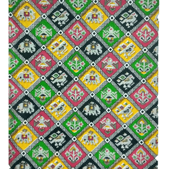 Cotton Kalamkari Handblock Saree BlouseKurti Fabric 100 cms - Flowers Print
