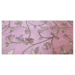 Baby Pink and Golden Floral Design Bamboo Jacquard Silk Fabric, Festival, (1 Meter)