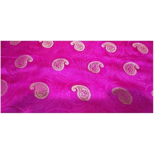Rani Pink and Golden Floral Design Brocade Silk Fabric, Festival, (1 Meter) Kaju Design