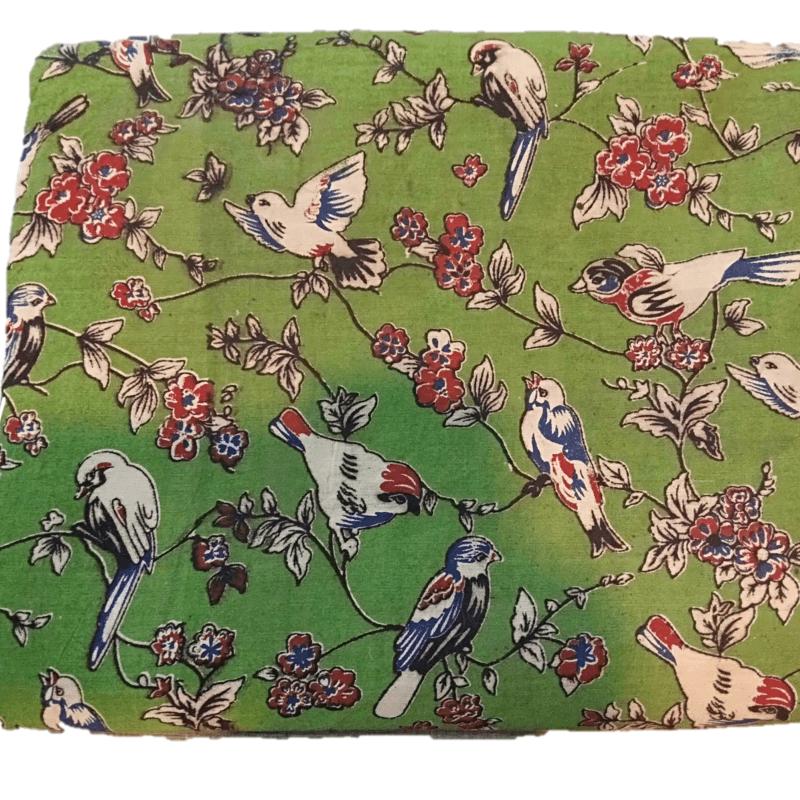 Cotton Kalamkari Handblock Saree BlouseKurti Fabric 100 cms - Birds Print - Green Colour