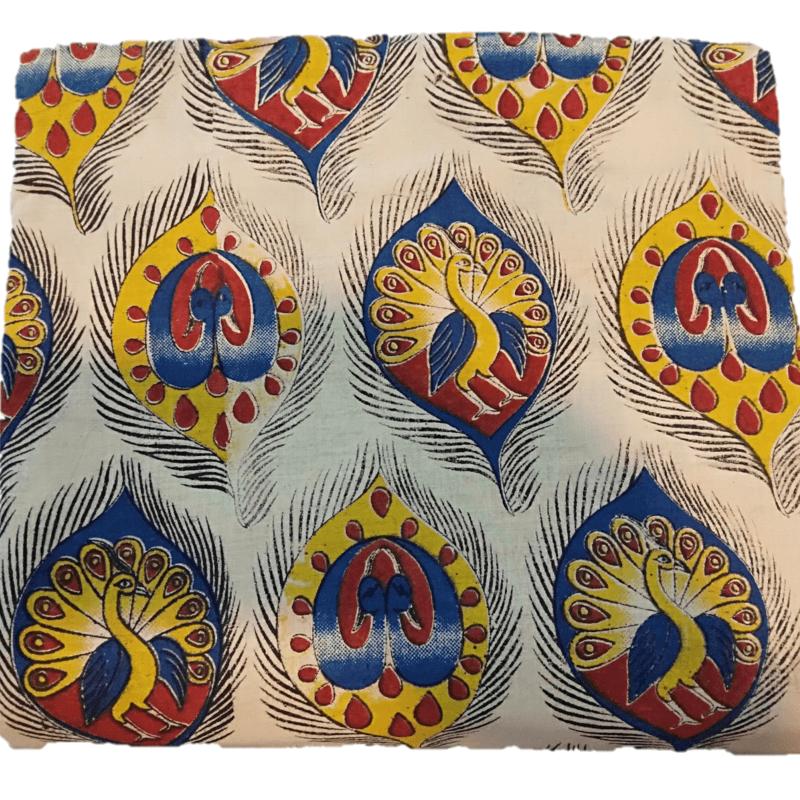 Cotton Kalamkari Handblock Saree BlouseKurti Fabric 100 cms - Peacock Print - Cream Colour
