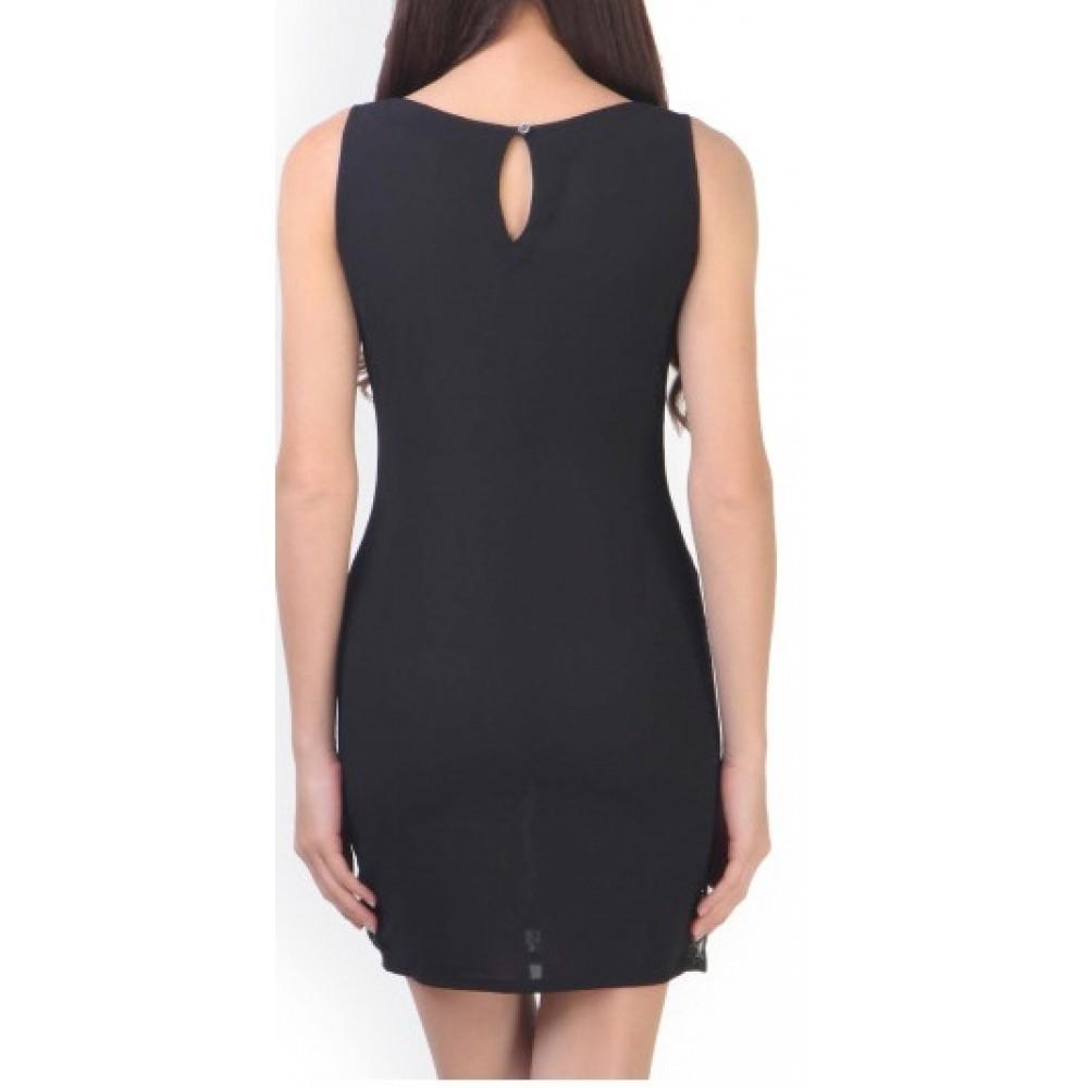 Lafacon-black-georgette-sheath-dress-with-lace-detail