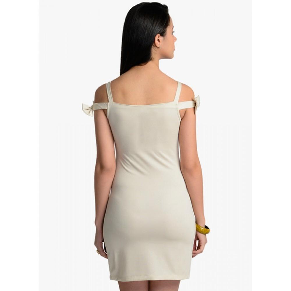 Lafacon-Beige-Solid-Bodycon-Dress