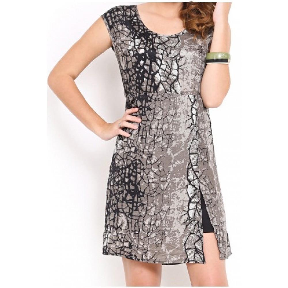 Lafacon-black-printed-a-line-dress