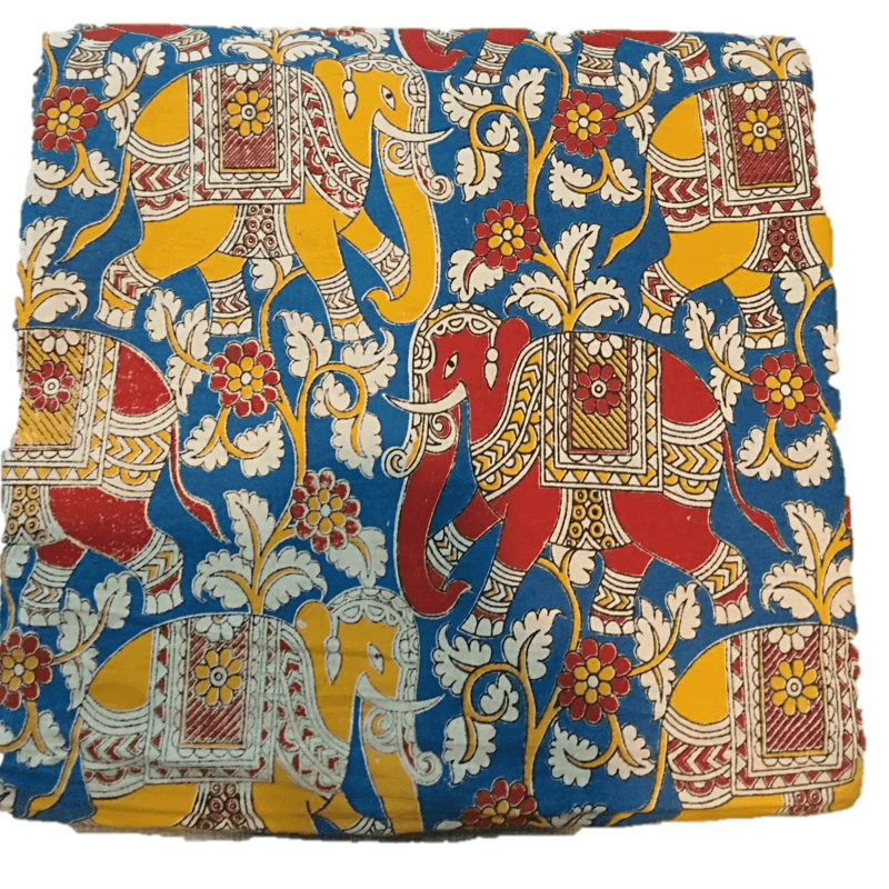 Cotton Kalamkari Handblock Saree BlouseKurti Fabric 100 cms - Haathi Print - Blue Colour