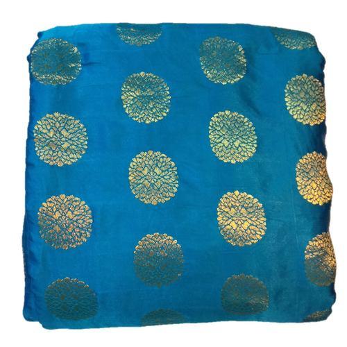 Blue and Golden Floral Design Brocade Silk Fabric, Festival, (1 Meter)