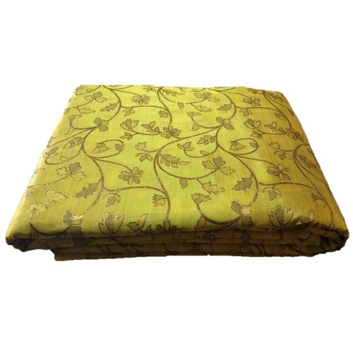 Yellow and Golden Floral Design Bamboo Jacquard Silk Fabric, Festival, (1 Meter)