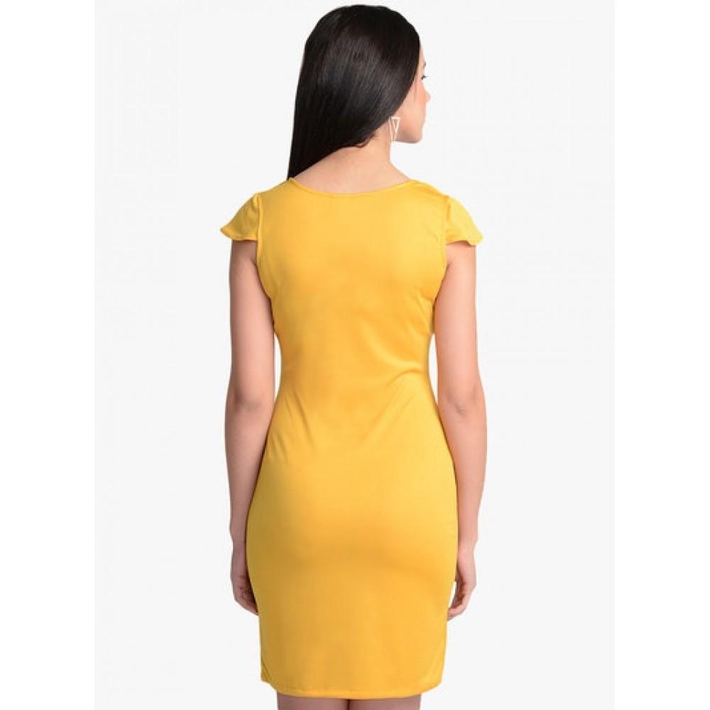 Lafacon-Yellow-Solid-Bodycon-Dress