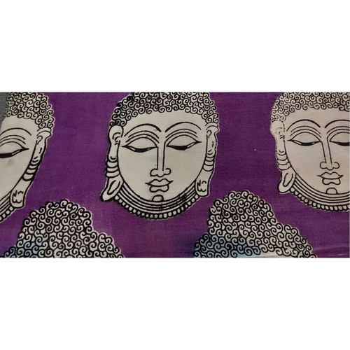 Cotton Kalamkari Handblock Saree BlouseKurti Fabric 100 cms Purple Colour - Budda Print