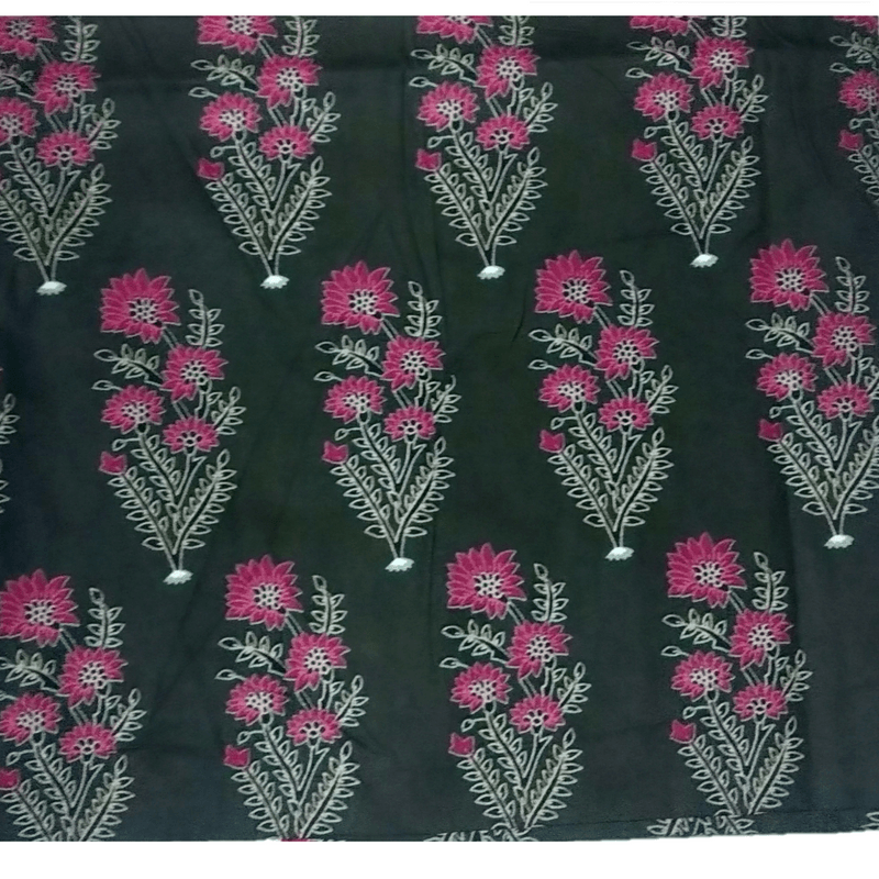 Cotton Kalamkari Handblock Saree BlouseKurti Fabric 100 cms - Black Flowers Print