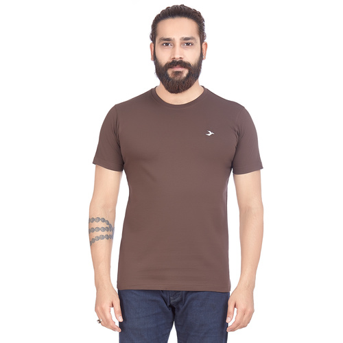 Mens Round Neck T-Shirt- Coffee Brown