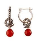 The Marcasite & Carnelian Silver Earrings