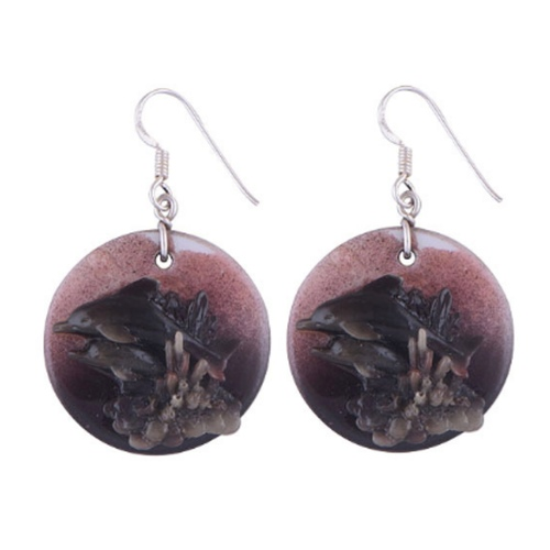 The Mauve Shell Silver Earrings