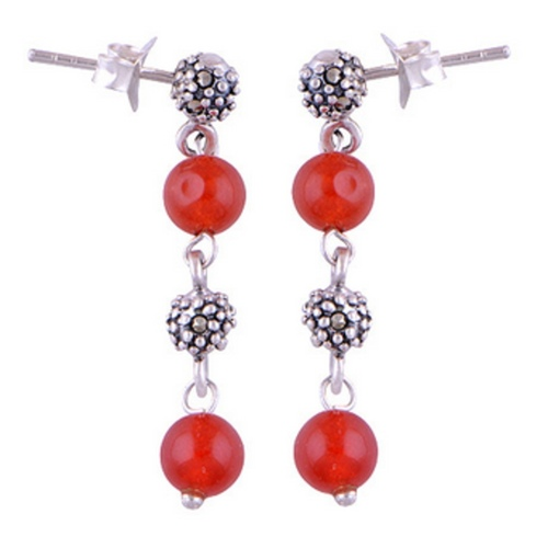 The Carnelian Silver Drop Earrings