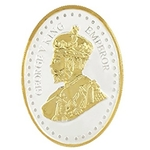 Silver Coin George King V Emperor 24 Kt Gold Plated 100 Gm 999 BIS Hallmarked