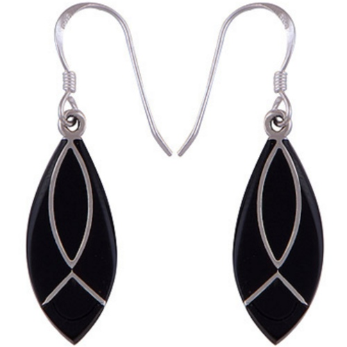 The Black Leaf Silver Earring