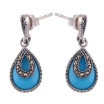 The Aqua Drop Marcasite Cut Stone Studs