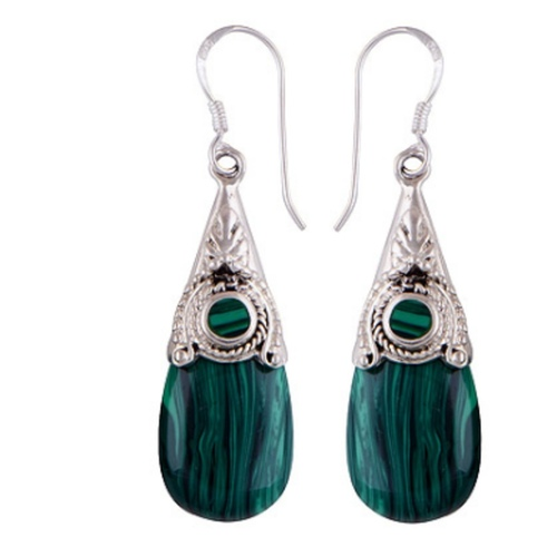 The Malachite Cabochon Stone Earrings