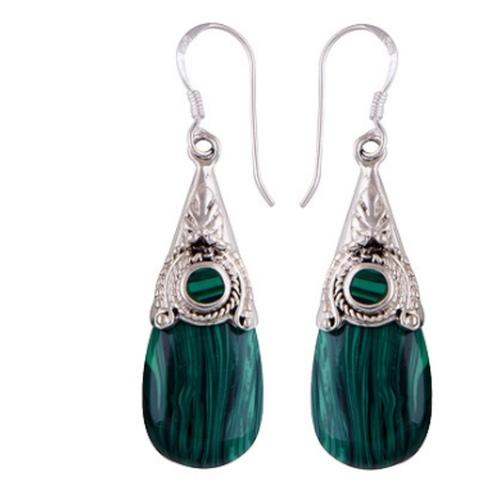 The Malachite Cabochon Stone Earrings
