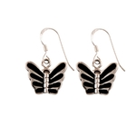 The Butterfly Black Onyx Silver Earrings
