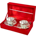 SILVER PLATED 2 CUP SAUCER AND SPOON SET