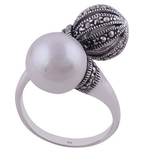 The Pearl n Marcasite Sphere Silver Ring