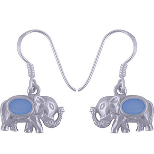 The Tusker Blue Silver Earring