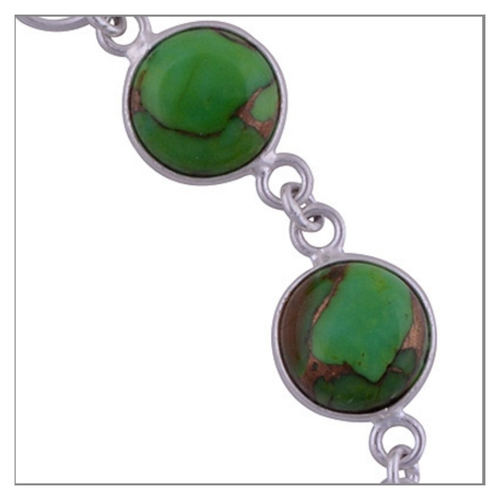 Green Turquoise Silver Bracelet