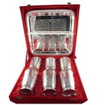 SILVER PLATED 6 IN 1 EXOTIC DRINK SET WITH TRAY