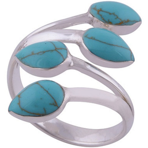 The Turquoise Bud Silver Ring