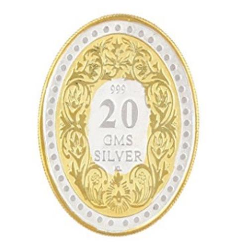 Silver Coin Queen Victoria 24 Kt Gold Plated 20 Gm 999 BIS Hallmarked