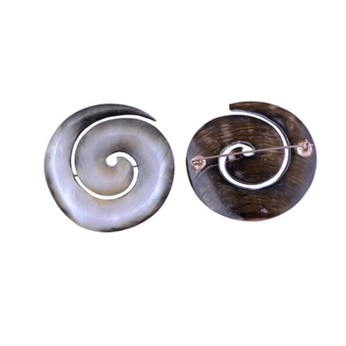 The Black Hole Shell Silver Brooch
