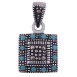 The Turquoise n Marcasite Silver Pendant