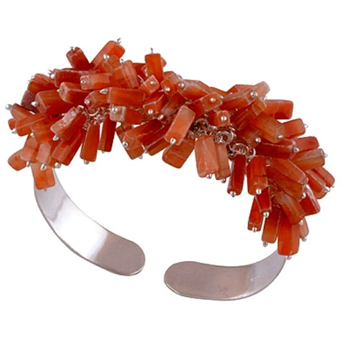 Carnelian Cluster Silver Bangle