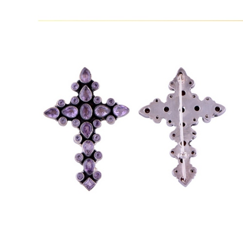 The Periwinkle Holy Cross Silver Brooch