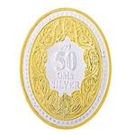 Silver Coin Queen Victoria 24 Kt Gold Plated 50 Gm 999 BIS Hallmarked