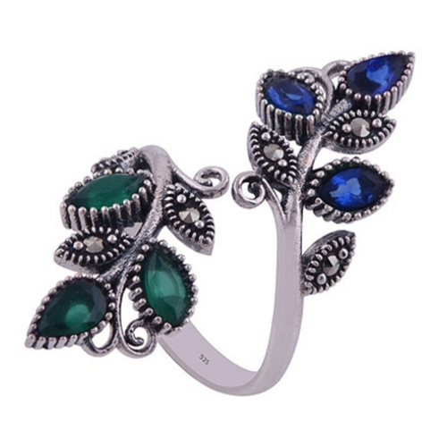 The Blue Green Vine Silver Ring