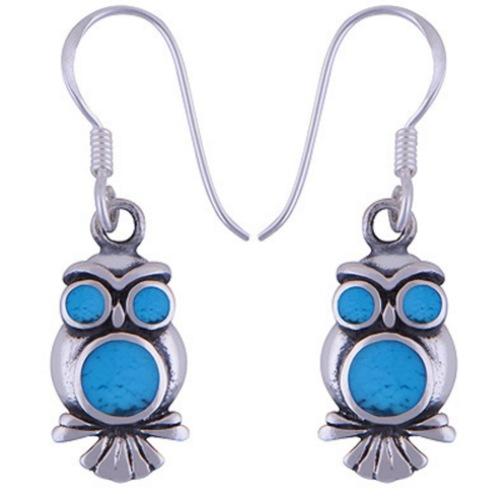 The Azure Owl Silver Earring
