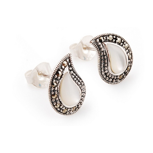 The Mother Of Pearl & Marcasite Silver Earrings