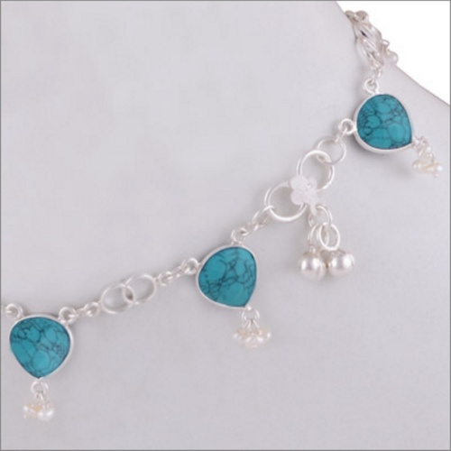 TURQUOISE SILVER ANKLET