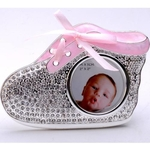 Silver Plated and Zircon Baby Shoe Photo Frame