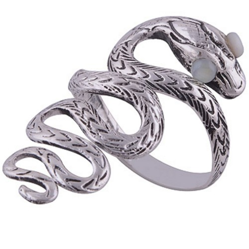 The White Eye Snake Silver Ring