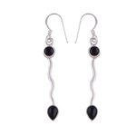 The Black Drop Silver Earrings