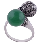 The Onyx n Marcasite Sphere Silver Ring