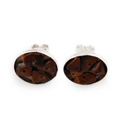 The Tiger Eye Silver Studs
