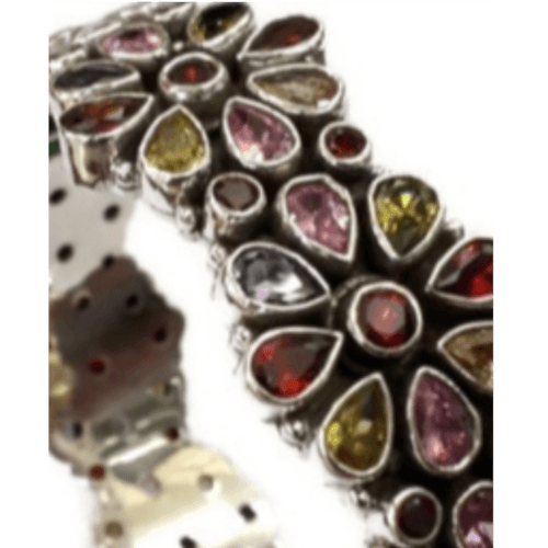 Multicolor Crystal SIlver Kada